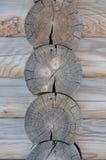 Рамка угла журналов деревянная Вид спереди Стоковая Фотография