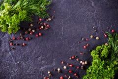 Рамка укропа и петрушки с специями Стоковое Изображение