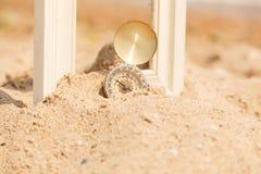 Рамка фото на пляже песка Стоковое Изображение RF
