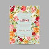 Рамка фото осени с цветками орхидеи и лилии Сезонная карточка дизайна падения Стоковое Изображение RF