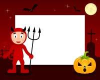 Рамка хеллоуина красного дьявола горизонтальная Стоковое Изображение