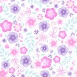 Рамка цветка акварели ультрамодная Лето флористическое с фиолетами и Иллюстрация штока