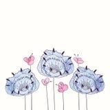 Рамка цветка акварели вектора круглая Граница притяжки руки флористическая Стоковое Изображение RF