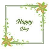 Рамка цветка лист иллюстрации вектора на день Валентайн счастливый иллюстрация вектора