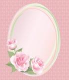 Рамка цветка розовая на ретро безшовной предпосылке. Флористическое оформление. Стоковое Изображение