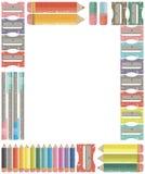Рамка школы и канцелярские товаров для назад к школе, дому или  Стоковое Изображение