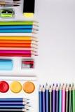 Рамка школы и канцелярские товар Стоковое Изображение RF