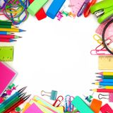 Рамка школьных принадлежностей квадратная на белой предпосылке Стоковая Фотография RF