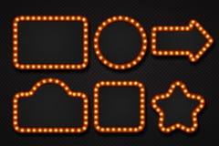 Рамка электрической лампочки Граница шишки афиши театра казино кино шильдика цирка шатра зеркала макияжа рамки света 3D иллюстрация штока