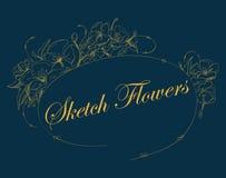 Рамка эскиза цветков вектор иллюстрация штока