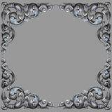 Рамка элементов орнамента, винтажное серебряное флористическое стоковая фотография