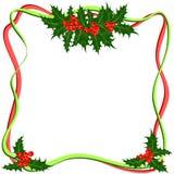 Рамка ягод падуба Вектор символа рождества Стоковые Изображения RF