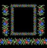 Рамка для вектора дизайна, цветки вышивки крестиком, подняла Стоковое фото RF