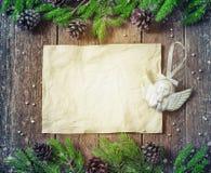 Рамка для надписей с карточкой украшений рождества Стоковые Изображения RF