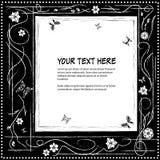 Рамка для текста с элегантным абстрактным флористическим мотивом и бабочками Стоковая Фотография RF
