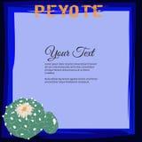 Рамка для текста с blossoming семьей кактуса williamsii лофофоры и пейотлем слова Стоковые Фото