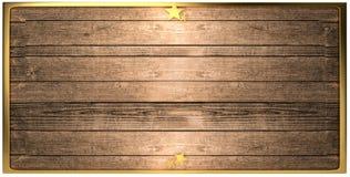 Рамка 3d-illustration деревянной доски золотая Стоковая Фотография
