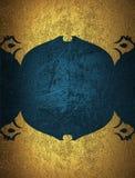 Рамка grunge золота с голубой предпосылкой Элемент для конструкции Шаблон для конструкции скопируйте космос для брошюры объявлени Стоковая Фотография RF