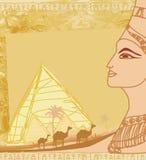 Рамка Grunge с египетским ферзем Стоковое фото RF