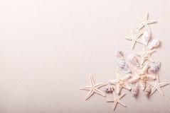 Рамка seashells на песке Стоковая Фотография RF