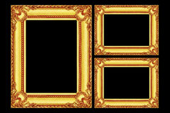 3 рамки античных золота деревянных изолированной на черноте Стоковое Изображение