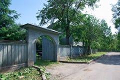 Рамки высекаенные русским деревянных домов Стоковое Фото