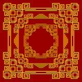 Рамки в китайском стиле Комплект золотых декоративных элементов на красной предпосылке Стоковое Фото