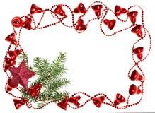 Рамки гирлянды колокола рождества красные с спрусом Стоковая Фотография RF
