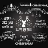 Рамки границы доски с Рождеством Христовым, знамя, олень рождества, элементы шрифта рождества также вектор иллюстрации притяжки c Стоковая Фотография