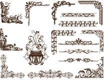 Рамки и углы вектора винтажные орнаментальные Стоковая Фотография