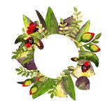 Рамки круга с цветком Нарисованная рукой иллюстрация акварели Смогите быть использовано как печать для ткани или рамка для вашего бесплатная иллюстрация