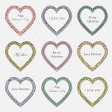 Рамки дня ` s валентинки винтажные на предпосылке Стоковое Фото