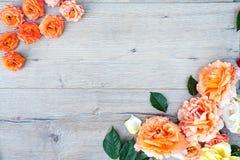 Рамки от роз на серой деревянной предпосылке Плоское положение с космосом экземпляра Текстура картины цветков Стоковое Изображение RF