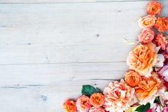 Рамки от роз на серой деревянной предпосылке Плоское положение с космосом экземпляра Текстура картины цветков Стоковая Фотография RF