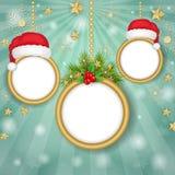 Рамки рождества над предпосылкой снежинок стоковое фото