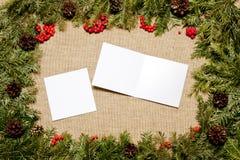 Рамки рождества с вечнозеленой елью, конусами, ягодой падуба Стоковая Фотография RF