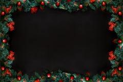 Рамки рождества или Нового Года на черной предпосылке с космосом экземпляра Стоковое фото RF