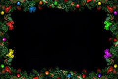 Рамки рождества или Нового Года на черной предпосылке с космосом экземпляра Стоковые Фотографии RF