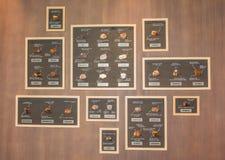 Рамки стены с именами разнообразий шоколадов стоковое фото