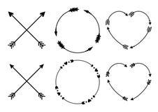 Рамки стрелки круга и сердца для вензелей Стрелки битника креста Criss Стрелки в стиле boho Племенные установленные стрелки векто Стоковые Фотографии RF