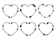 Рамки стрелки сердца Вензеля сердца Стрелки битника Стрелки в стиле boho Племенные стрелки Комплект индийских стрелок стиля векто Стоковое Изображение RF