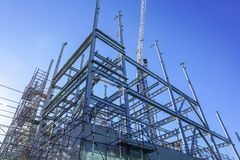Рамки структурной стали для нового здания стоковое изображение