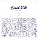 Рамки с кораллом fish-04 иллюстрация штока