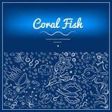 Рамки с кораллом fish-09 иллюстрация штока