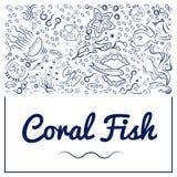 Рамки с кораллом fish-10 иллюстрация штока