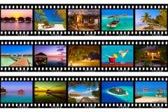 Рамки фильма - Мальдивы приставают съемки к берегу мои фото Стоковое фото RF