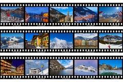 Рамки фильма - лыжа Австрия гор отображает Стоковые Изображения RF