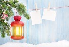 Рамки фонарика и фото свечи рождества Стоковая Фотография RF