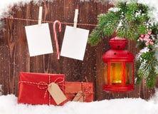 Рамки фонарика и фото свечи рождества Стоковое фото RF