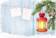Рамки фонарика и фото свечи рождества Стоковое Изображение